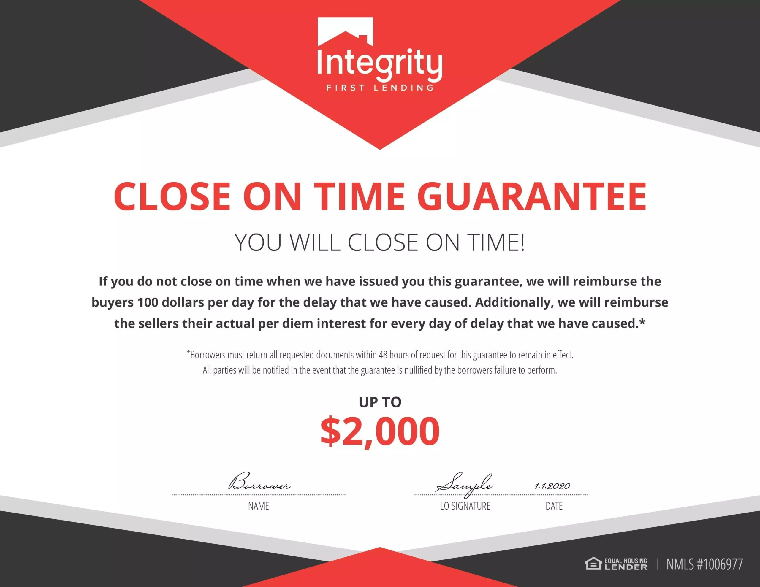 Close On Time Guarantee